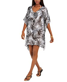 Paradise Palms Flutter-Sleeve Caftan Cover-Up