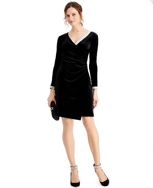 MSK Velvet Embellished Faux-Wrap Dress
