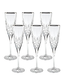 Lorren Home Trends Chic Flute Goblets with Trim - Set of 6