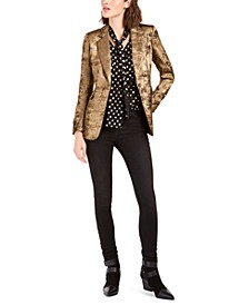 Metallic One-Button Jacket & Dot-Print Chiffon Tie-Neck Top, Created For Macy's