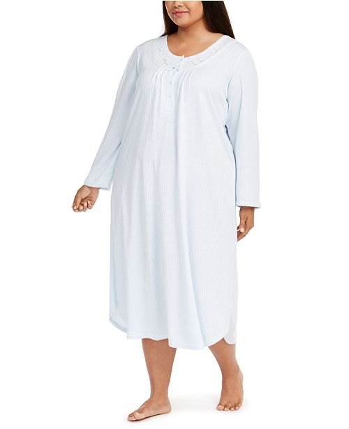 Miss Elaine Plus Size Brushed Honeycomb Pointelle Knit Nightgown