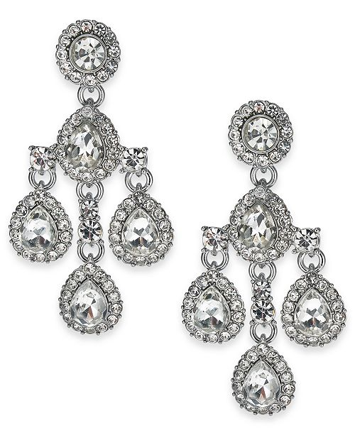 Charter Club Crystal & Stone Chandelier Earrings, Created for Macy's