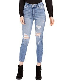 Juniors' Ripped High-Rise Skinny Ankle Jeans