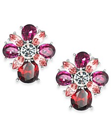Silver-Tone Red & Pink Crystal Stud Earrings, Created For Macy's