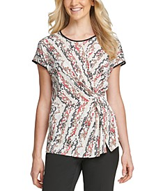 Printed Side-Knot T-Shirt