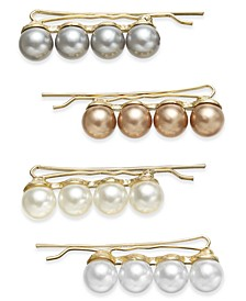 INC 4-Pc. Gold-Tone Imitation Pearl Bobby Pin Set, Created For Macy's