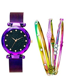 I.N.C. Women's Iridescent Mesh Bracelet Watch 35mm Gift Set, Created For Macy's