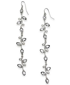 INC Silver-Tone Crystal Linear Drop Earrings, Created For Macy's