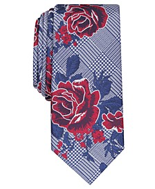Men's Crest Skinny Floral Plaid Tie, Created for Macy's