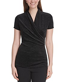 Petite Velvet Side-Ruched Top