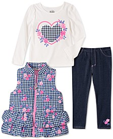 Baby Girls 3-Pc. Printed Peplum Puffer Vest, Graphic-Print T-Shirt & Jeggings Set