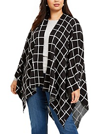 Windowpane Plus Size Ruana, Created for Macy's