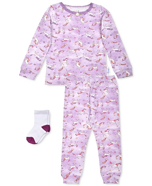Max & Olivia Toddler Girls 3-Pc. Unicorn-Print Pajamas & Socks Set, Created For Macy's
