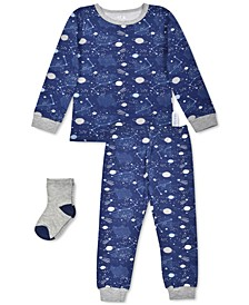 Baby Boys 3-Pc. Space-Print Pajamas & Socks Set, Created For Macy's