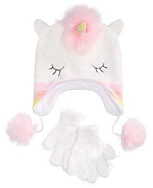 Big Girls 2-Pc. Unicorn Hat & Gloves Set With Faux-Fur Trim