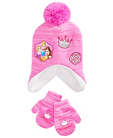 Toddler Girls 2-Pc. Princesses Hat & Mittens Set