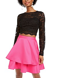 Juniors' 2-Pc. Lace Top & Satin Skirt Dress