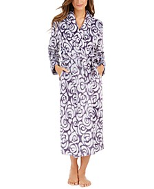 Floral-Print Long Plush Robe, Created for Macy's