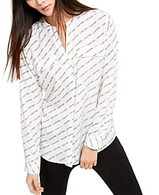 Printed Split-Neck Shirt