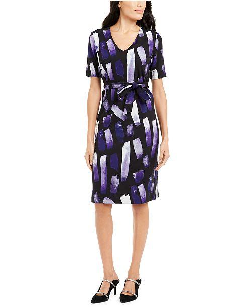 Alfani Printed Tie-Waist Dress, Created For Macy's