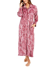 Women's Velvet Fleece Long Zipper Robe