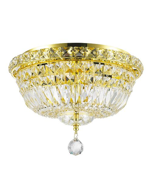 Worldwide Lighting Empire 4-Light Gold Tone Finish and Clear Crystal Flush Mount Ceiling Light