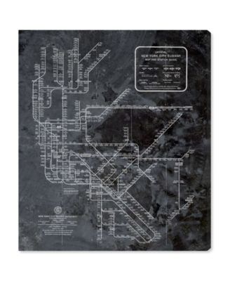 Ny Subway Map Dark Rustic Canvas Art, 24