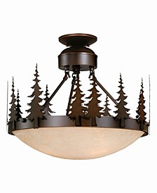 Yosemite Amber Glass Rustic Tree Semi-Flush Mount Light or Pendant