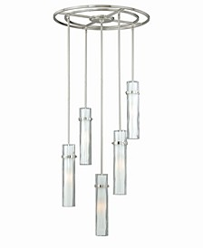 Vilo Satin Nickel 5 Light Contemporary Frosted Opal Mini Pendant Light