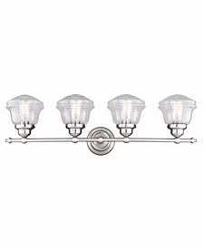 Huntley Satin Nickel 4 Light Farmhouse Bathroom Vanity Wall Light Clear Schoolhouse Glass