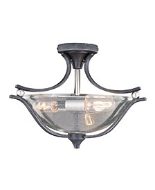 Seville Nickel with Clear Seeded Glass Ceiling Light