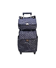Quilted Luggage Bag with Pull Out Handle and Roller Wheels