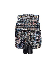 Distorted Print Weave Backpack with Tassel Bellishments
