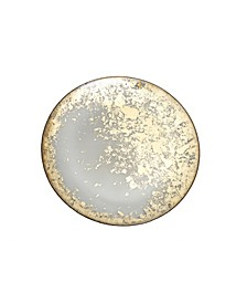 Smoked Glass Charger Plate Plate with Scattered Gold Tone Design