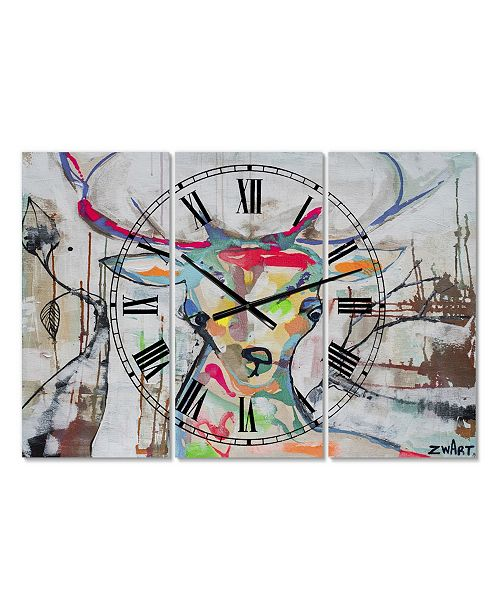 "Designart Colorful Deer II Oversized Cottage 3 Panels Wall Clock - 38"" x 38"" x 1"""