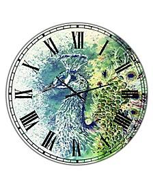 "Peacock Bliss Large Farmhouse Wall Clock - 36"" x 28"" x 1"""
