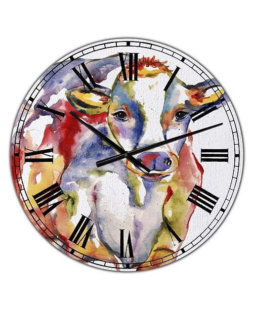 """Designart Watercolor Hand painted Cow Large Farmhouse Wall Clock - 36"""" x 28"""" x 1"""""""