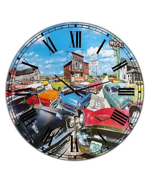 """Designart the Tri Five Large Modern Wall Clock - 36"""" x 28"""" x 1"""""""