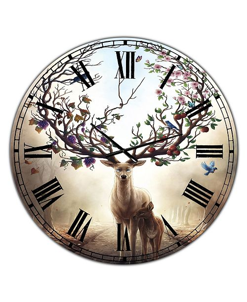 "Designart Deer with Blossoming Antlers Large Cottage Wall Clock - 36"" x 28"" x 1"""