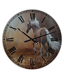"Running Brown Horse Large Cottage Wall Clock - 36"" x 28"" x 1"""