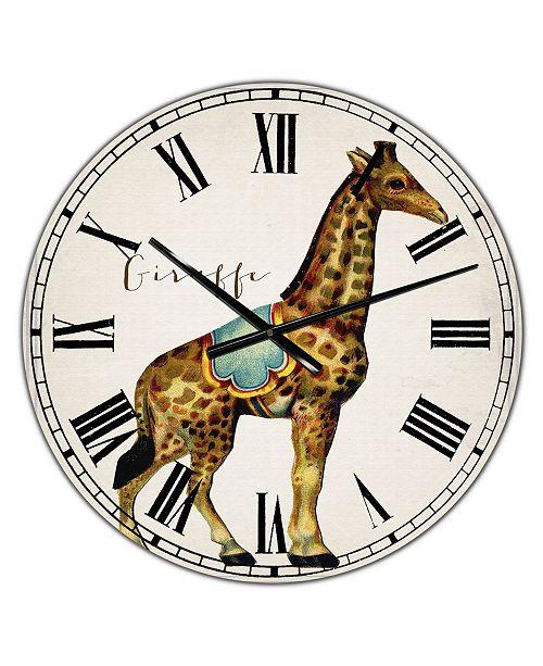 "Designart Circus Animals Giraffe Oversized Cottage Wall Clock - 36"" x 28"" x 1"""