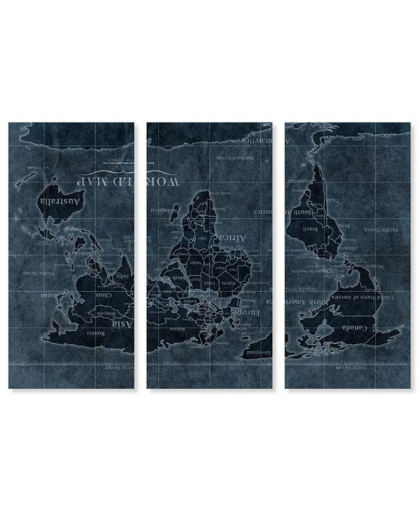 """Oliver Gal Upside-Down Map of The World Noir Triptych Canvas Art, 17"""" x 36"""""""