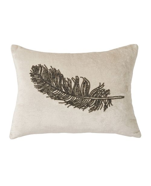Michael Aram Feather Beaded 12  X 16  Decorative Pillow