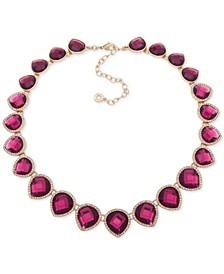 "Gold-Tone Pavé & Stone Collar Necklace, 16"" + 3"" extender"
