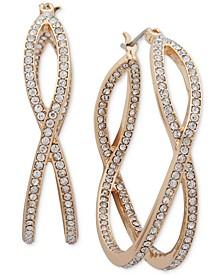 "Medium Gold-Tone Pavé X-Hoop Earrings 1-1/2"""