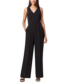 Petite Seam-Waist Wide-Leg Tuxedo Jumpsuit