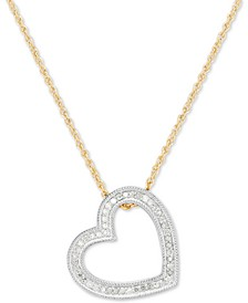 Diamond Heart Pendant Necklace (1/4 ct. t.w.) in Sterling Silver & 14k Gold-Plate