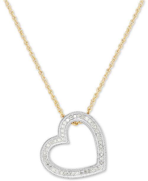 Macy's Diamond Heart Pendant Necklace (1/4 ct. t.w.) in Sterling Silver & 14k Gold-Plate