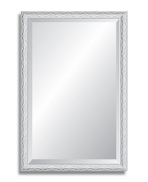 "Reveal Frame & Decor Reveal Ornate Gloss White Beveled Wall Mirror - 25.5"" x 39"""