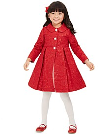 Blueberri Boulevard Little Girls 2-Pc. Brocade Coat & Dress Set